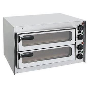 HOCAP2CR - MINI HORNO PARA PIZZA DOBLE CON VENTANA DE CRISTAL. Horno eléctrico diseñado para un uso intensivo y continuo en cualquier aplicación de restauración (pizzerías, restaurantes, cafeterías, etc.).